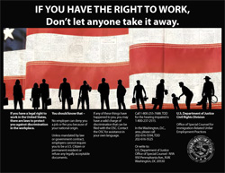 Photo of right to work poster in english