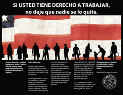 Photo of right to work poster in Spanish