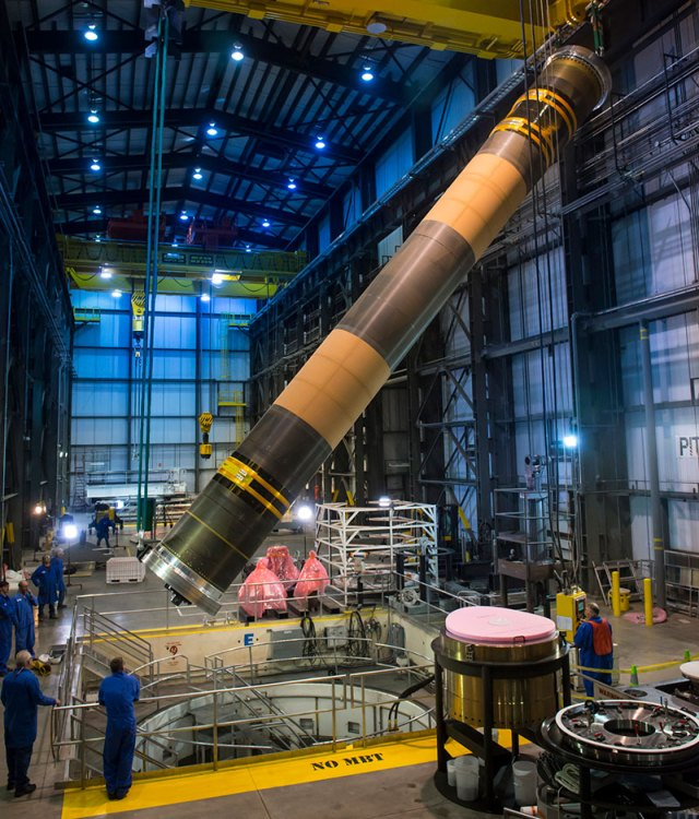 solid rocket motor in large building