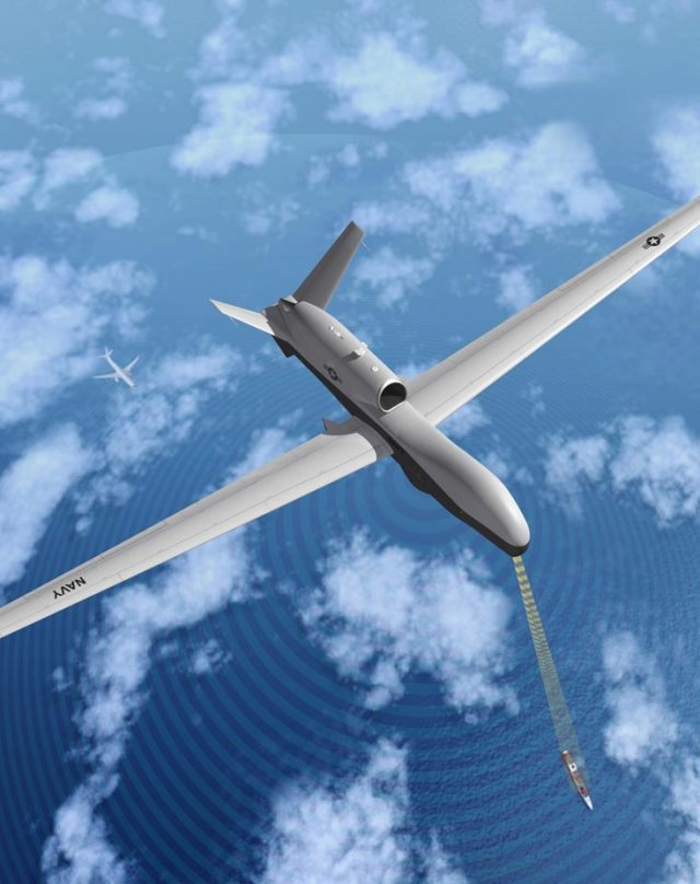 birds eye view of unmanned military plane above clouds